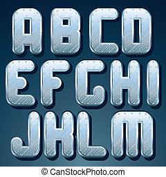 Silver, Steel Metallic Font. Set of Shiny Letters