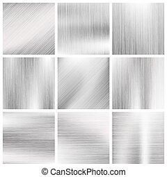 Silver, steel, titanium, aluminium metal vector brushed textures