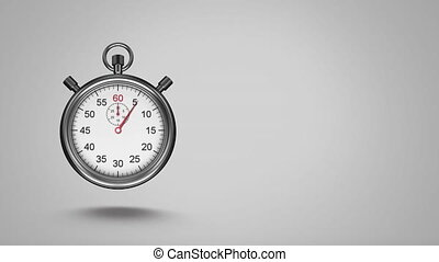 Silver stopwatch - Digitally generated animation of silver ...
