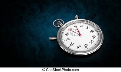 Silver stopwatch - Digitally generated animation of ...
