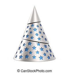 Silver stylized Christmas tree with blue stars