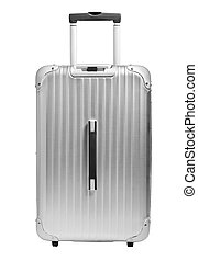 Silver suitcase on isolated on white