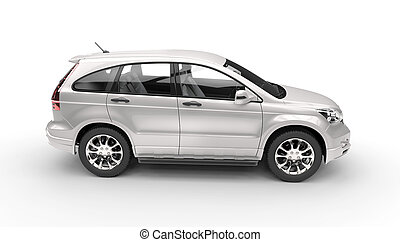 Silver SUV 4X4 Top Side View