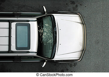 Silver SUV from Above