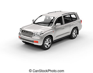 Silver SUV isolated on white