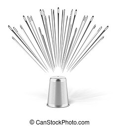 silver thimble and needles isolated on a white background