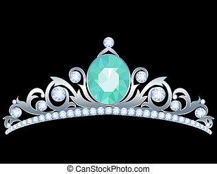 Silver tiara with diamonds and aquamarine on black...