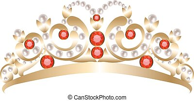 Silver tiara - Vintage silver tiara adorned with pearls and...