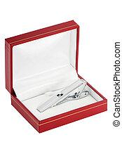 Silver tie-pin in box