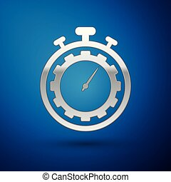 Silver Time Management icon isolated on blue background. Clock and gear sign. Productivity symbol. Vector Illustration