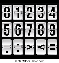 silver timetable numbers on black