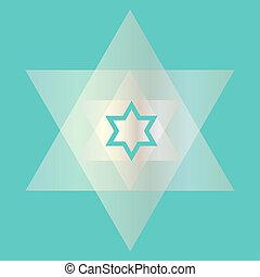 silver transparent Jewish star on blue background
