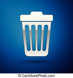 Silver Trash can icon isolated on blue background. Garbage bin sign. Vector Illustration