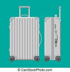 Silver travel bag. Plastic case. Trolley on wheels