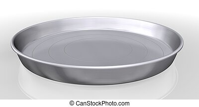 silver tray service on white background