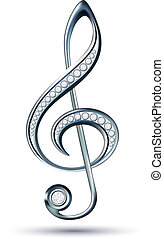 Silver treble clef with diamonds isolated on the white...