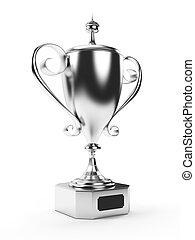 Silver trophy - 3d rendered illustration of a silver trophy