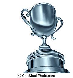 Silver Trophy Award - Silver trophy cup award in a dynamic...