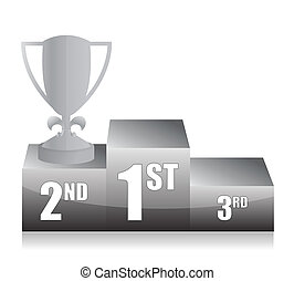 silver trophy cup 2nd place illustration design
