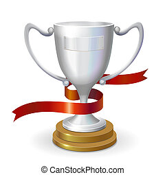 Silver trophy cup isolated on white background. 3d illustration