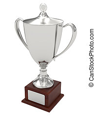 Silver trophy cup on wood pedestal with blank plate