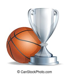 Silver trophy cup with a Basketball ball