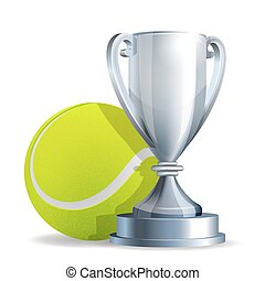 Silver trophy cup with a Tennis ball isolated on white...