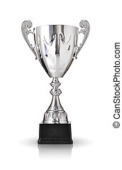 silver trophy isolated on white background