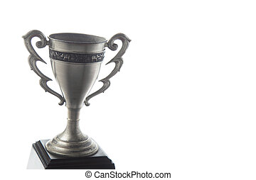 Silver trophy isolated on white background. Winning awards.