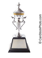 Silver trophy isolated on white background. Winning awards