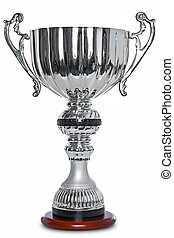 Silver trophy isolated on white clipping path. - Photo of a...