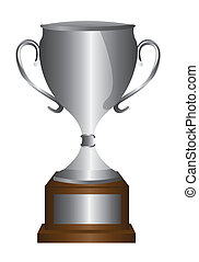 silver trophy isolated over white background. vector