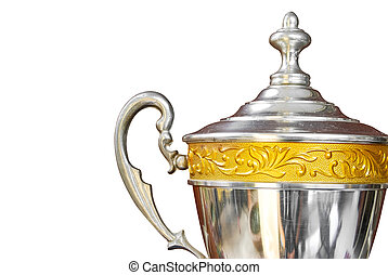 silver trophy isolated - silver trophy with gold decoration...