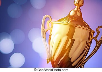 Silver trophy prize - Close up of a silver trophy prize with...