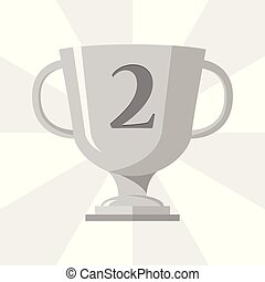 Silver trophy winner cup with 2 symbol on the trophy, vector illustration