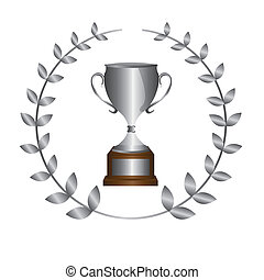 silver trophy with laurel wreath isolated over white...