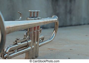 Silver trumpet on gray background