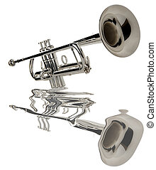 trumpet - silver trumpet on white close up shoot