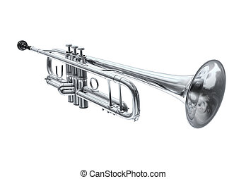Silver trumpet, perspective view.