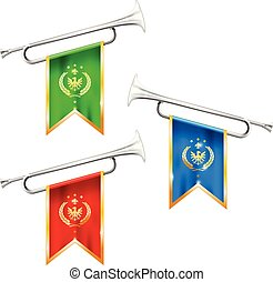 Silver trumpets with royal symbolics - fanfare for ...