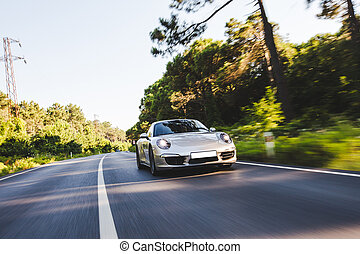 Silver turbo motor sport car on the forest road