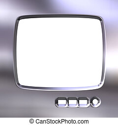 Silver TV Frame - Silver TV frame isolated in white