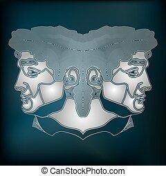 Silver twins portrait, zodiac Gemini sign - Silver twins,...