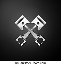 Silver Two crossed engine pistons icon isolated on black background. Long shadow style. Vector