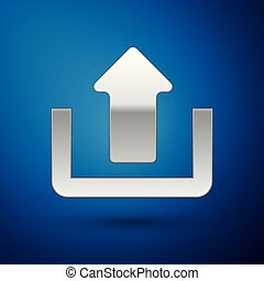 Silver Upload icon isolated on blue background. Up arrow. Vector Illustration