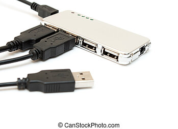 Silver USB hub. - Silver USB hub on a white background.