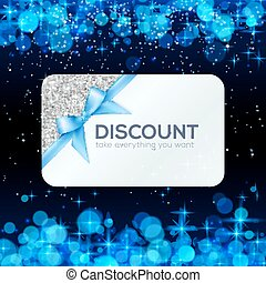 Silver vector gift card with blue ribbon and bow