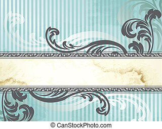 Elegant blue and silver banner design inspired by Victorian style. Graphics are grouped and in several layers for easy editing. The file can be scaled to any size.
