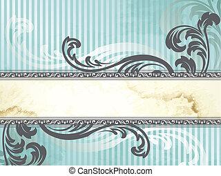 Silver Victorian vintage banner - Elegant blue and silver...