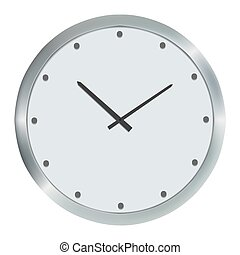 Silver wall clock, Vector illustration, isolated on white